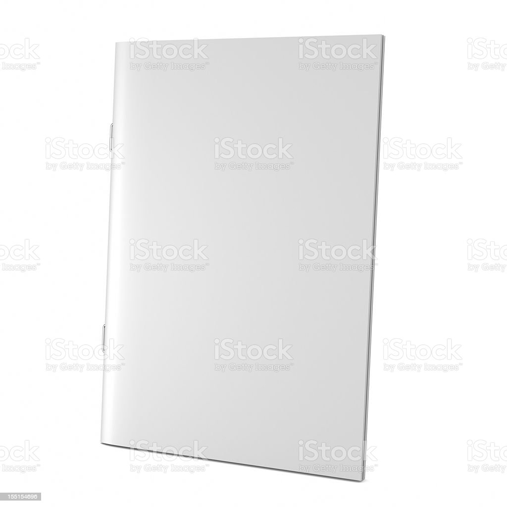 A blank white book cover on white stock photo