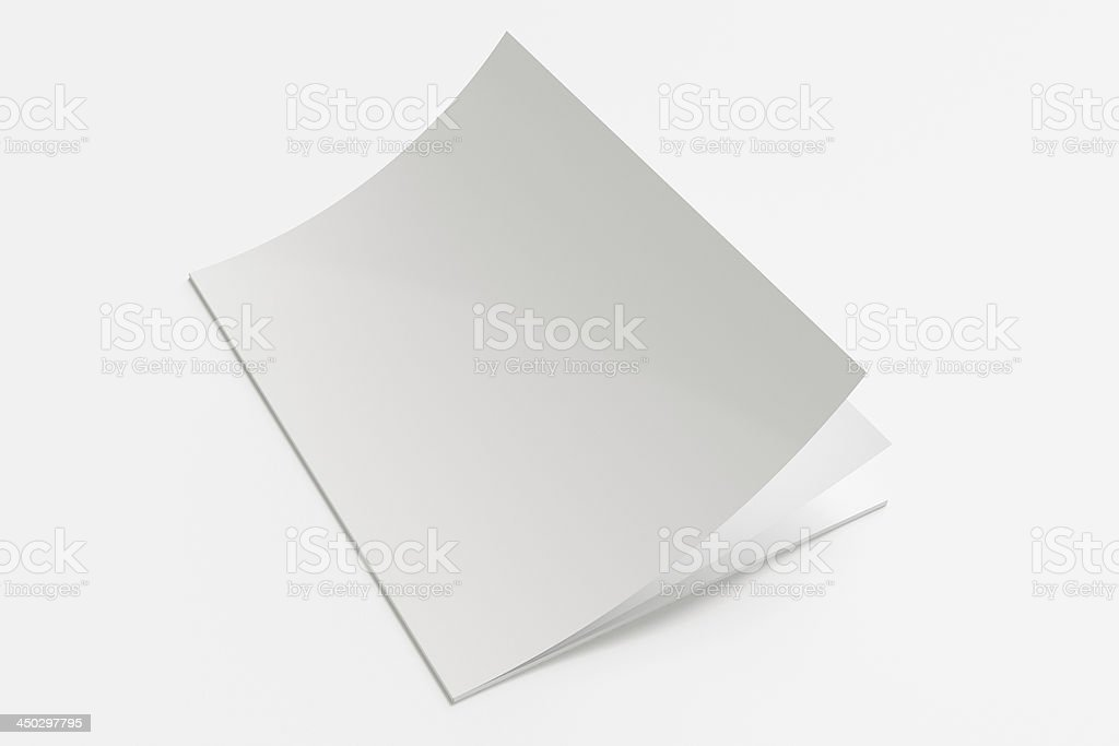 Blank white booklet opening on white surface stock photo