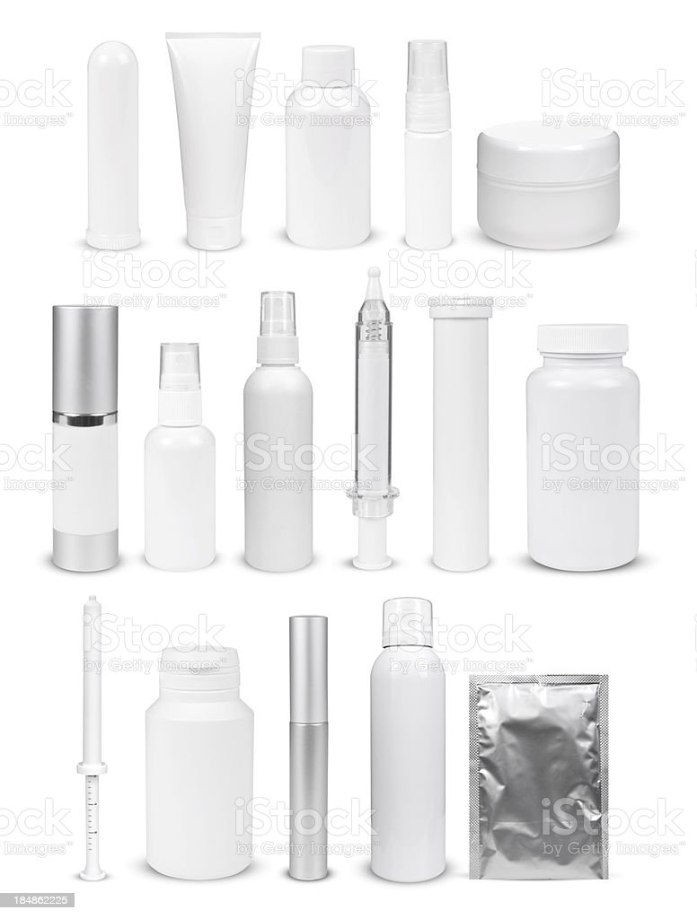 blank white bottles and containers stock photo