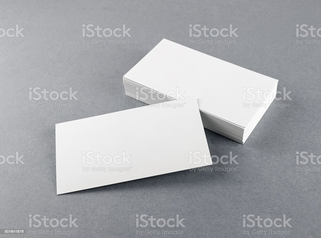 Blank white business cards stock photo