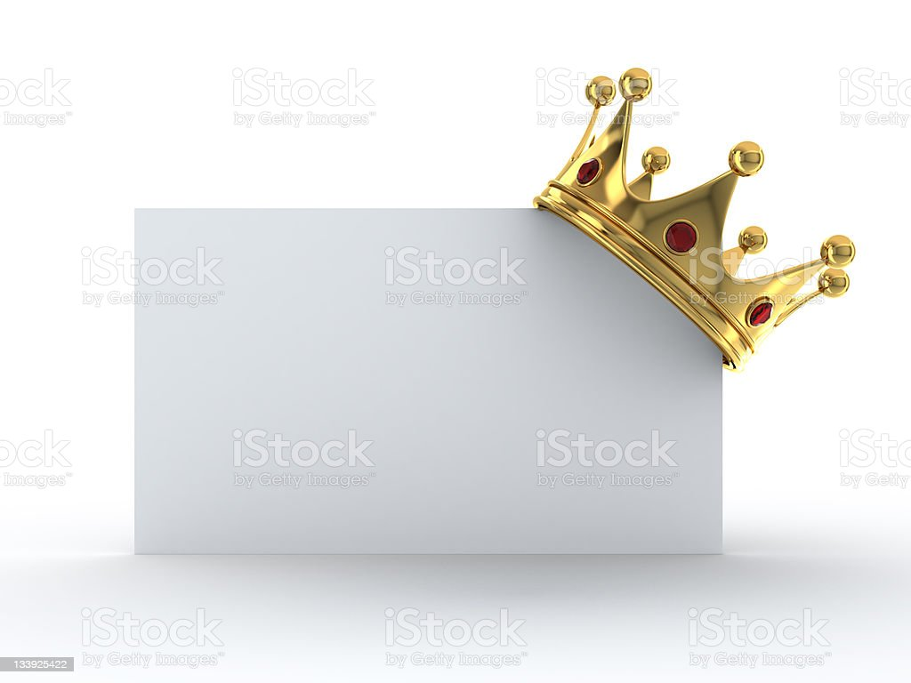 Blank white card with a gold crown on the top right corner stock photo
