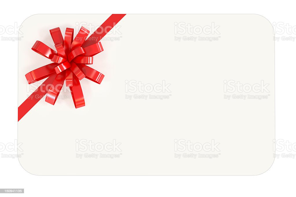 Blank white card with red bow across the top-left corner stock photo