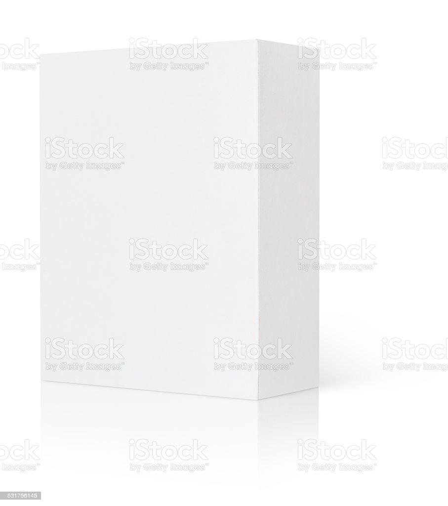 Blank white cardboard box stock photo