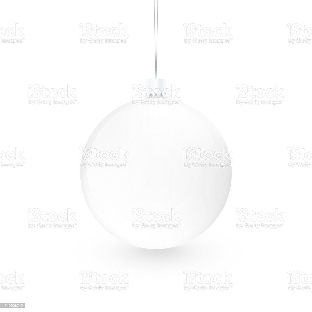 Blank white christmas ball toy isolated. Empty xmas sphere mock stock photo