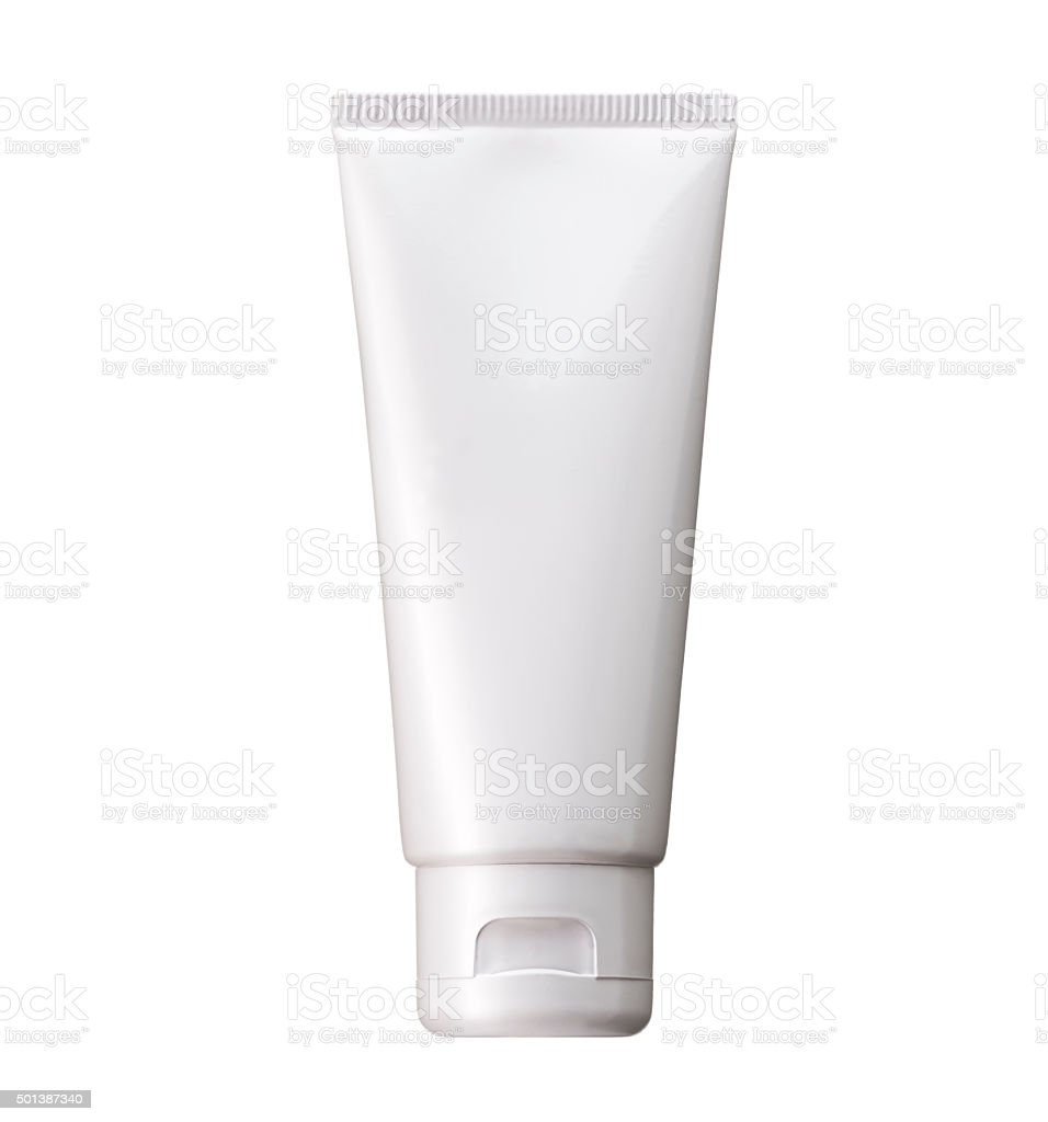 Blank White cosmetic tube pack Of Cream Or Gel. stock photo