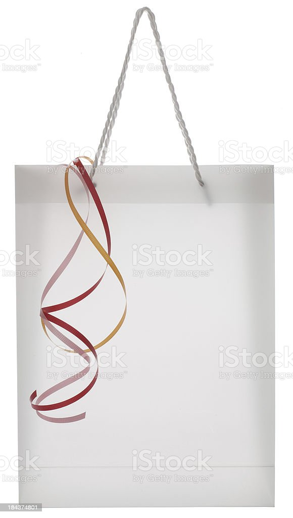 Blank white deluxe gift bag with ribbon royalty-free stock photo