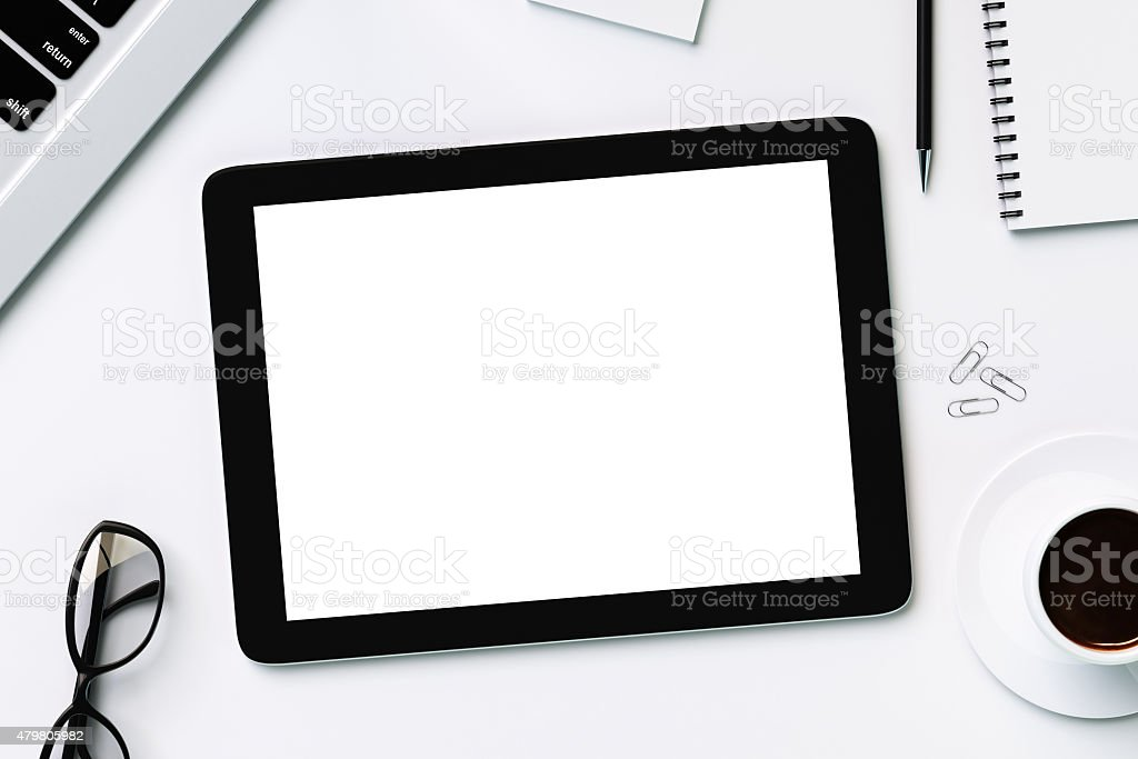 Blank white digital table stock photo