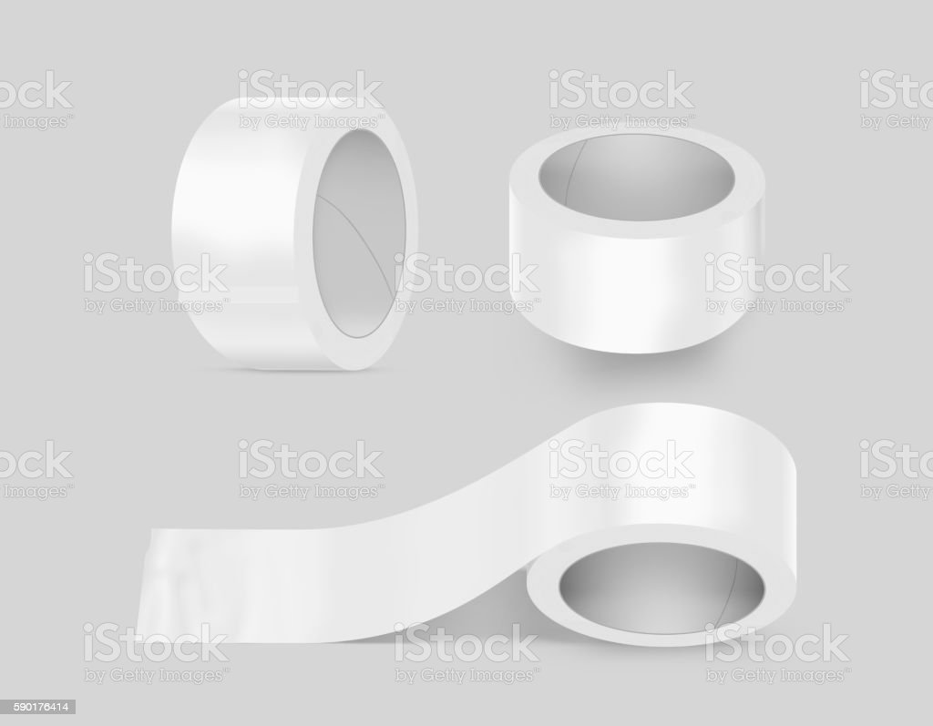 Blank white duct adhesive tape set mockup, clipping path stock photo