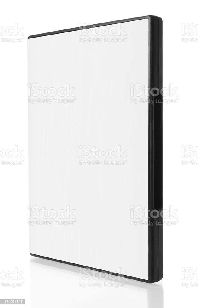 Blank white DVD case on white background royalty-free stock photo