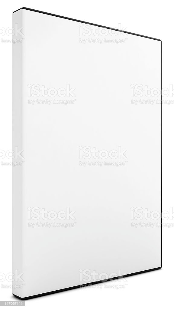 Blank white DVD case upon plain white background stock photo