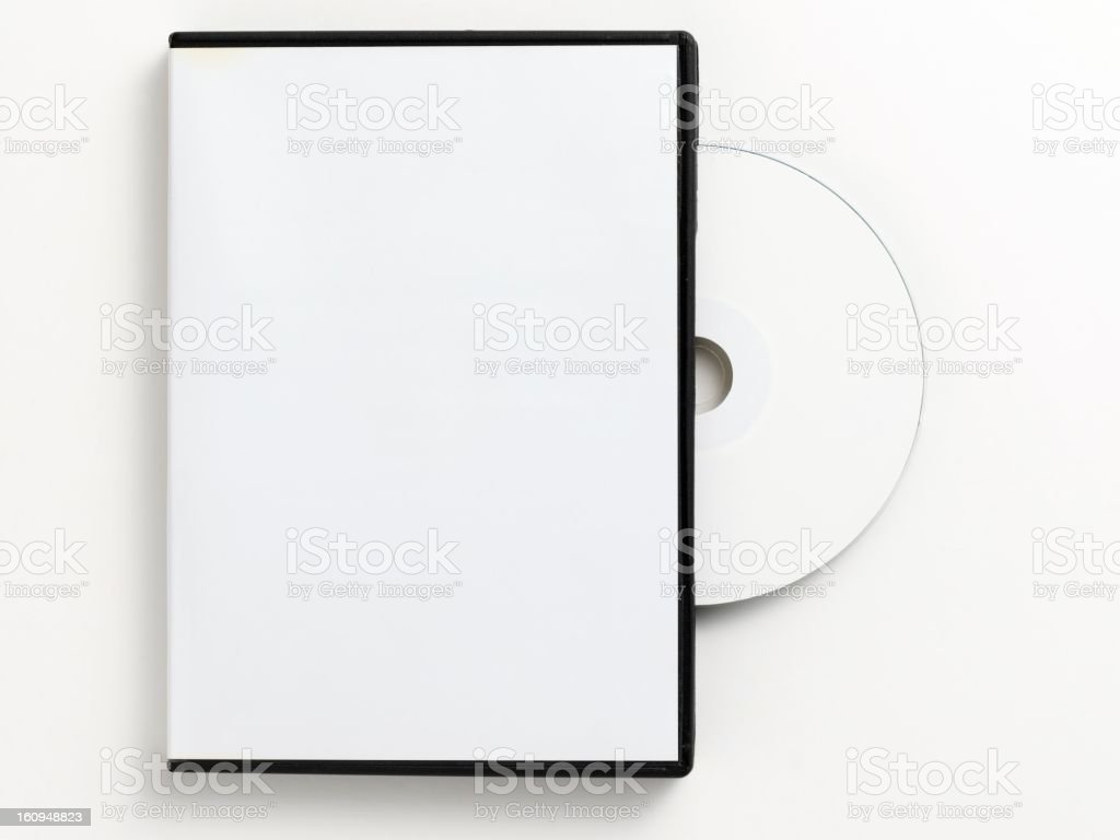 Blank white DVD case with blank DVD royalty-free stock photo