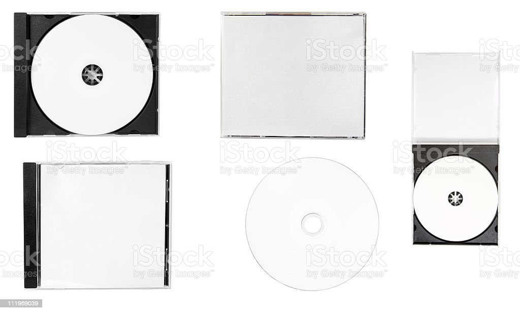 A blank white empty disk and covers on a white background stock photo