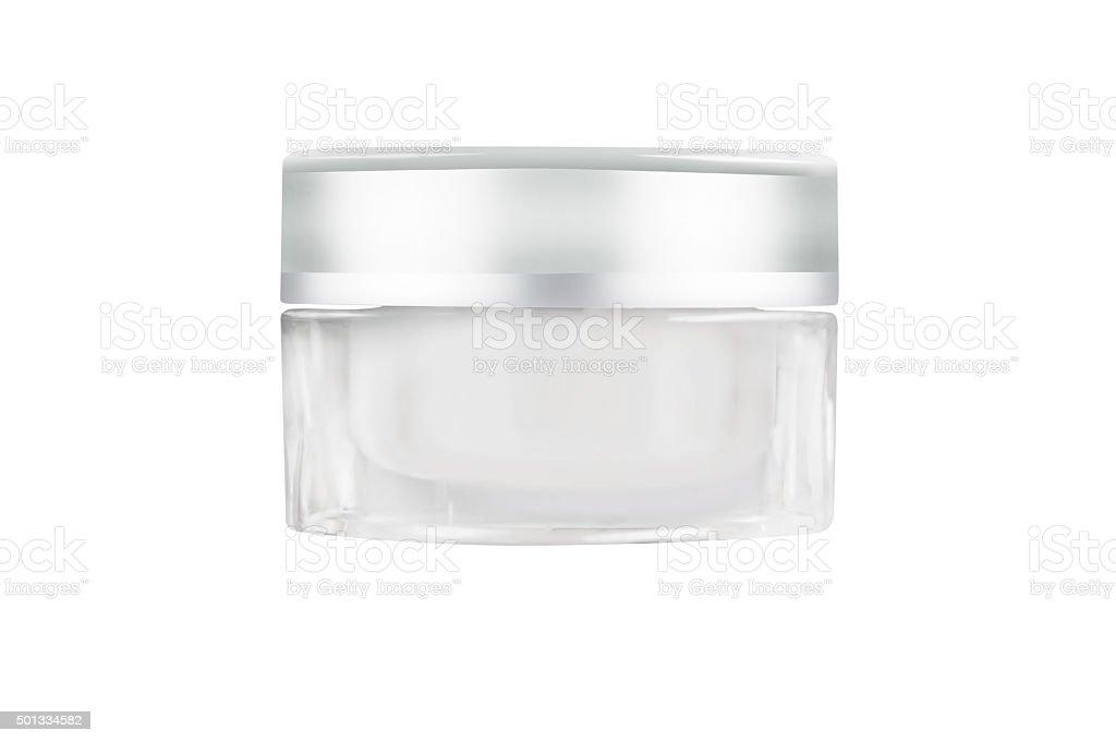Blank white facial cream jar isolate on white background stock photo