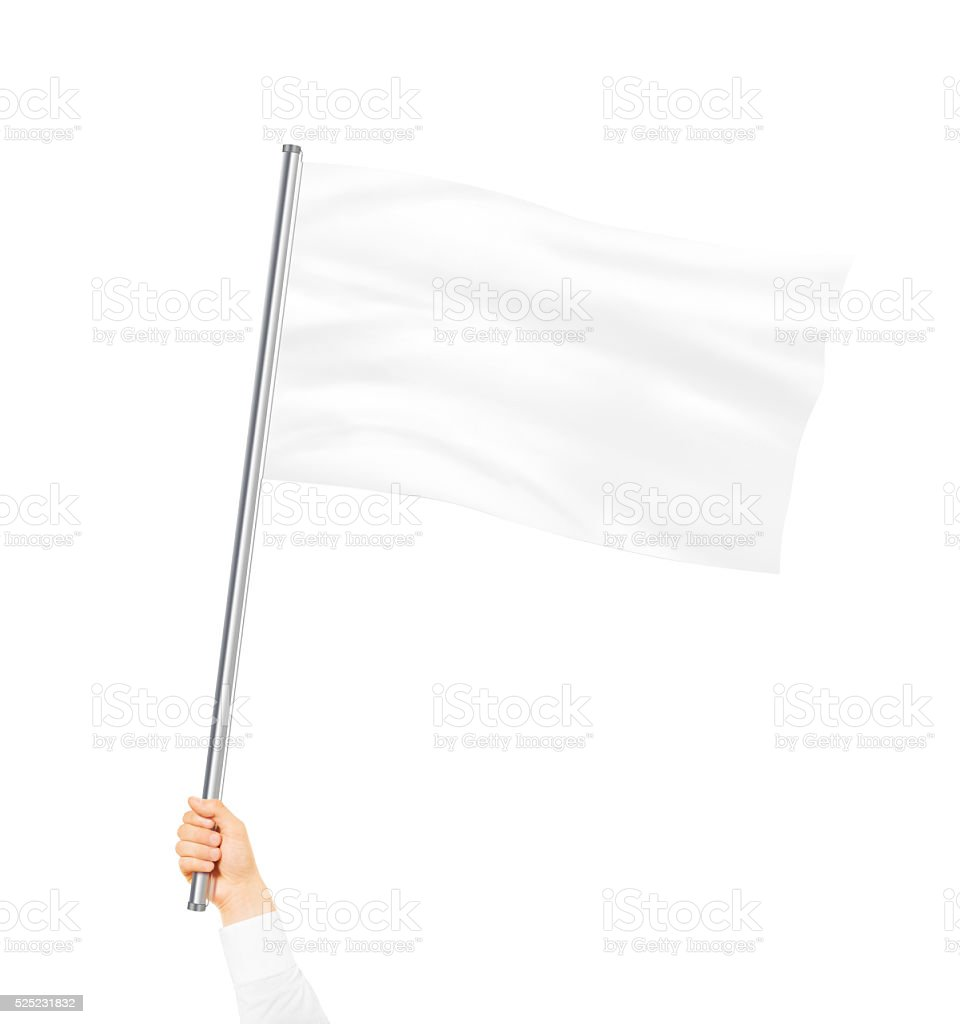 Blank white flag mock up isolated holding in hand stock photo