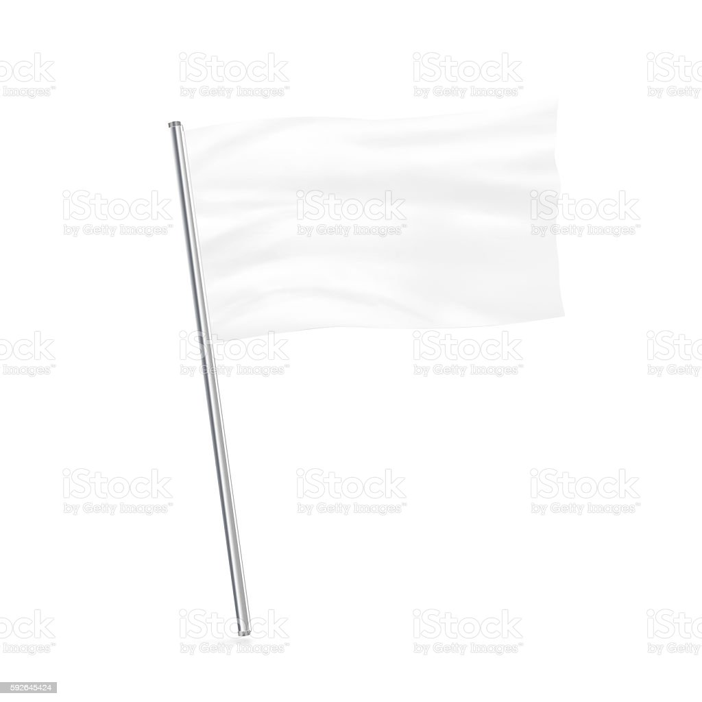 Blank white flag mock up stand isolated. stock photo