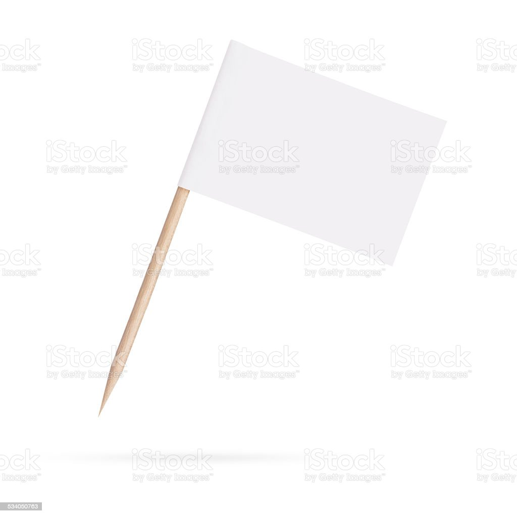 blank white flag.Isolated on white background stock photo