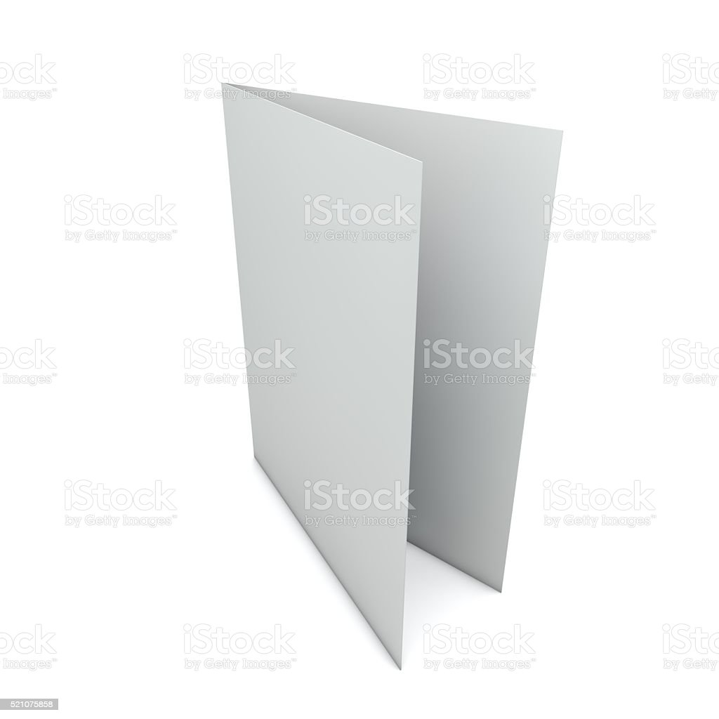 Blank white folded card stock photo