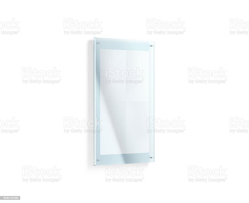 Blank white folded poster mockup under the acrylic holder stock photo