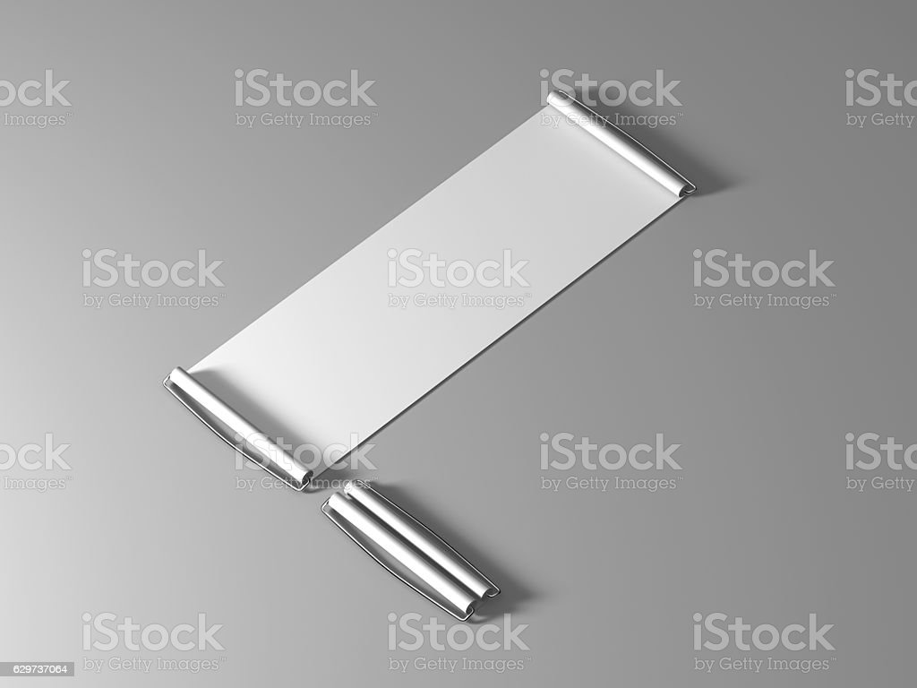 Blank white hand held banner mockup, isometric view stock photo