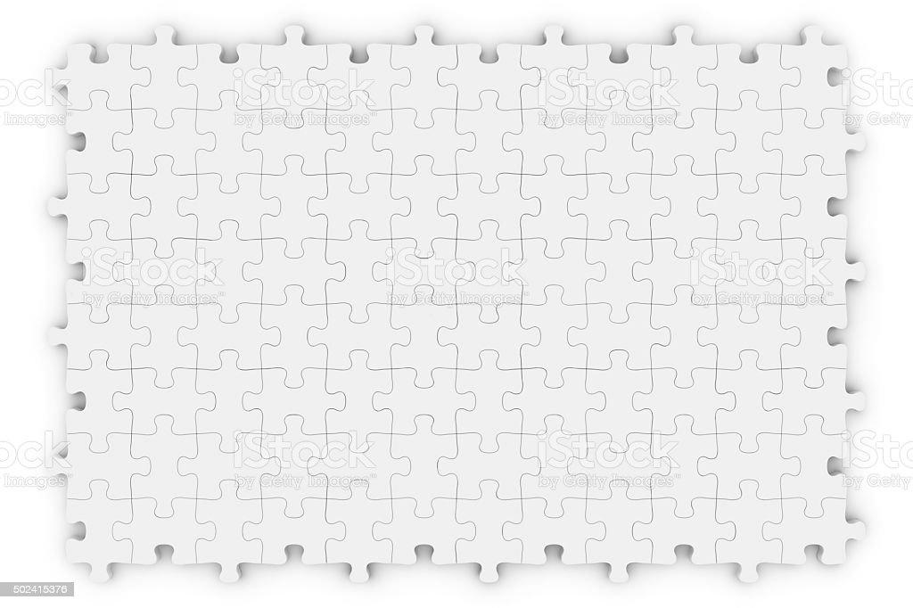 Blank White Jigsaw Puzzle Isolated on White stock photo