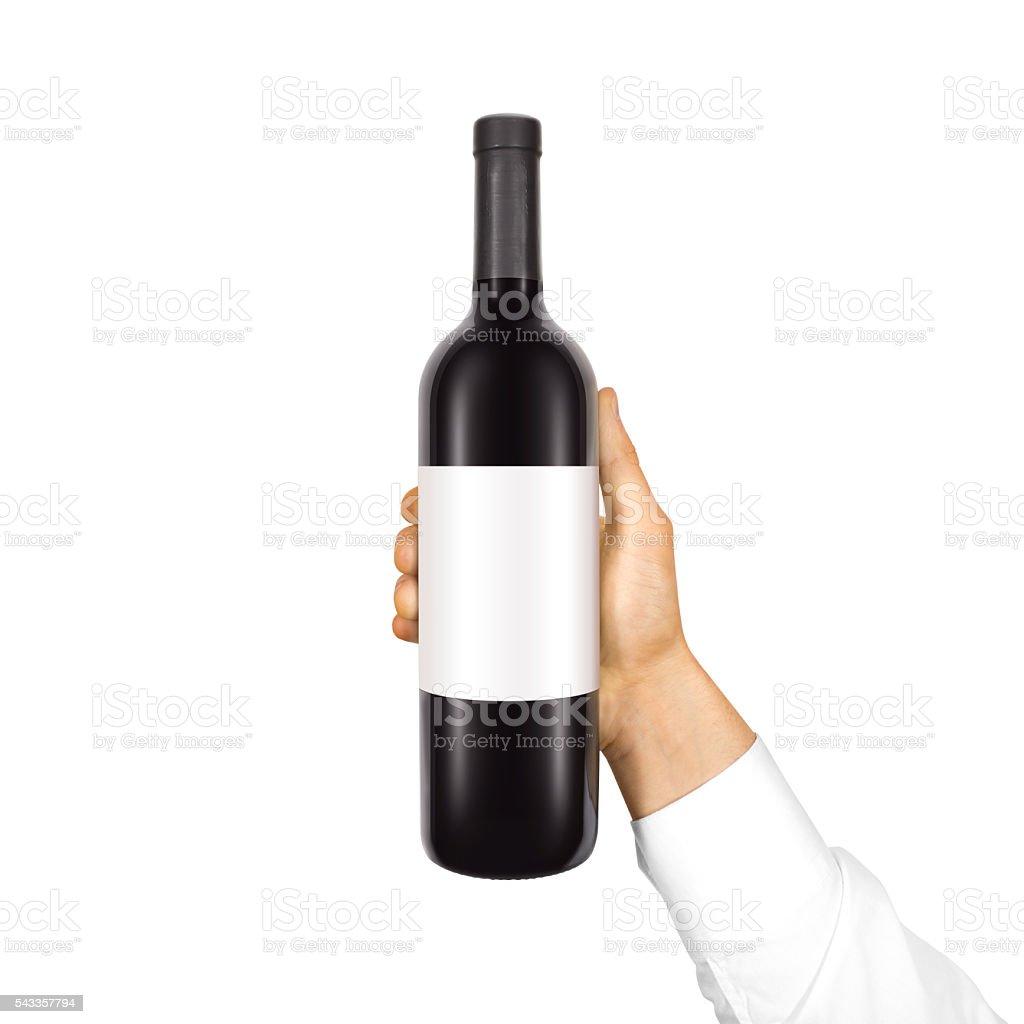 Blank white label mock up on black bottle of red stock photo