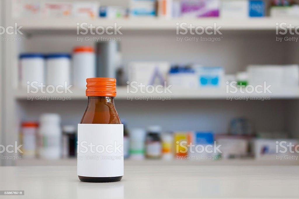 Blank white label of medicine bottle stock photo
