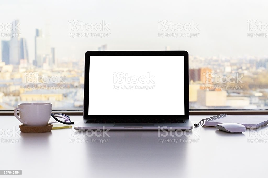 Blank white laptop screen stock photo