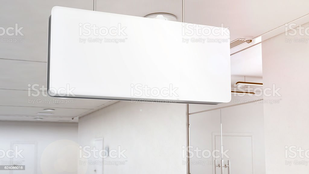 Blank white light signage mockup hanging on ceiling, clipping path stock photo