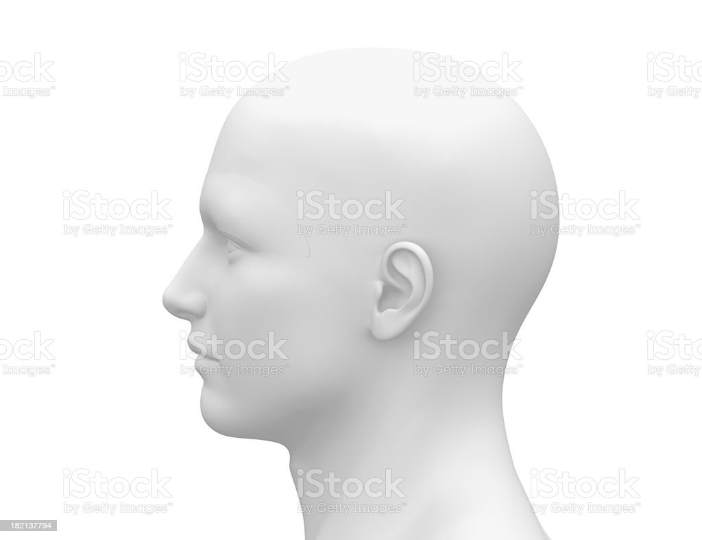 Blank White Male Head - Side view stock photo