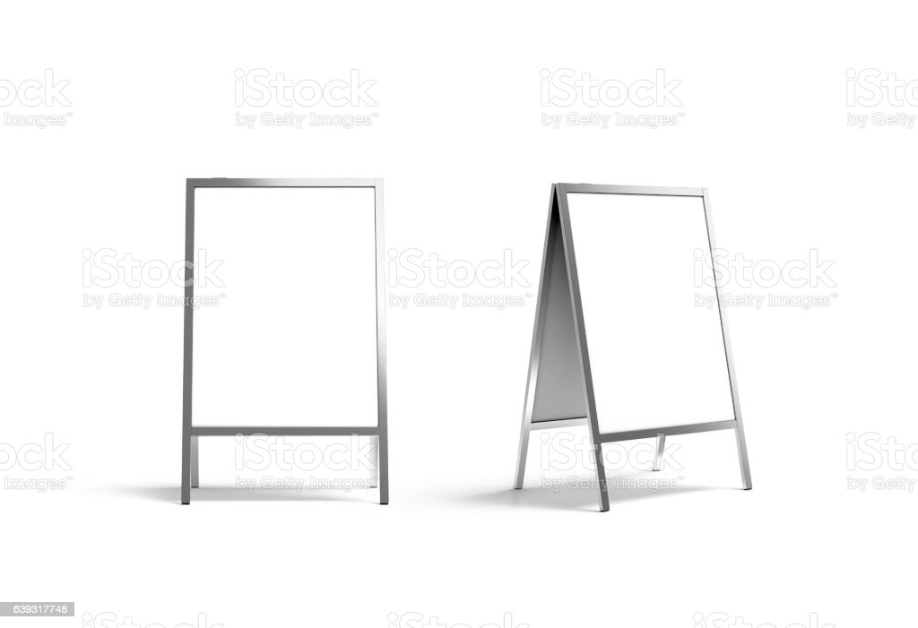 Blank white metallic outdoor stand mockup set, isolated, front stock photo