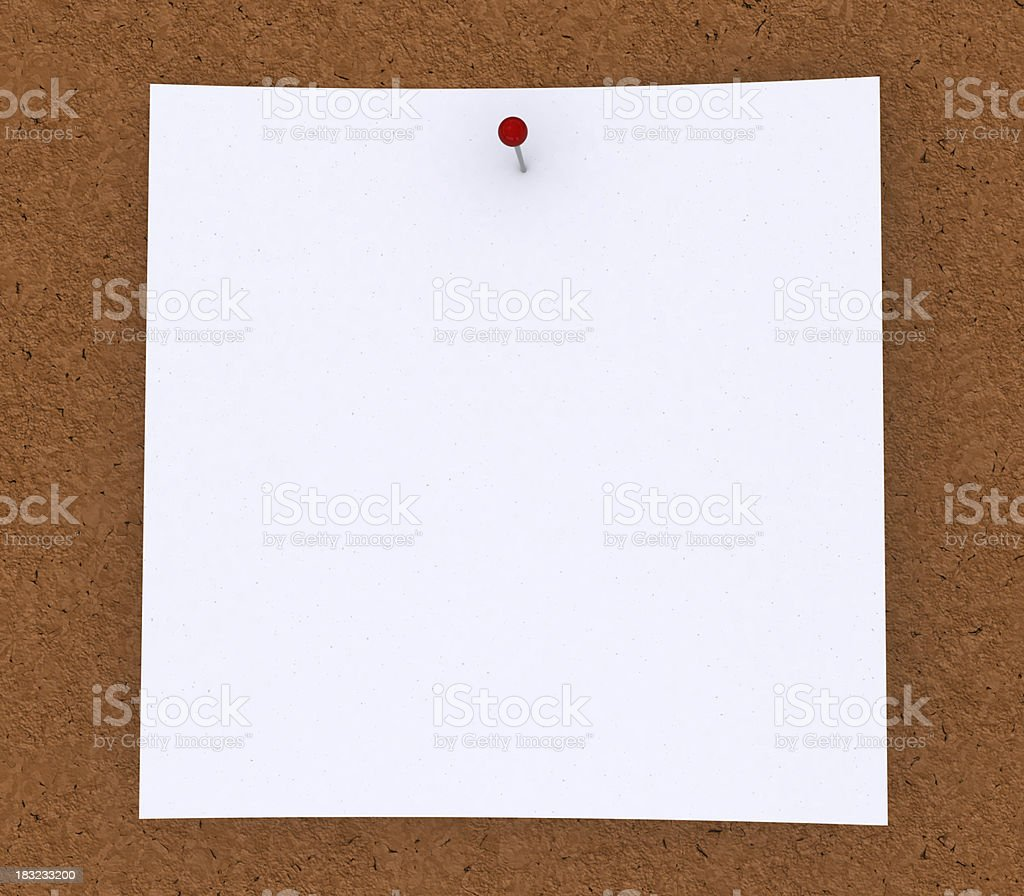 Blank white note paper pinned on cork royalty-free stock photo