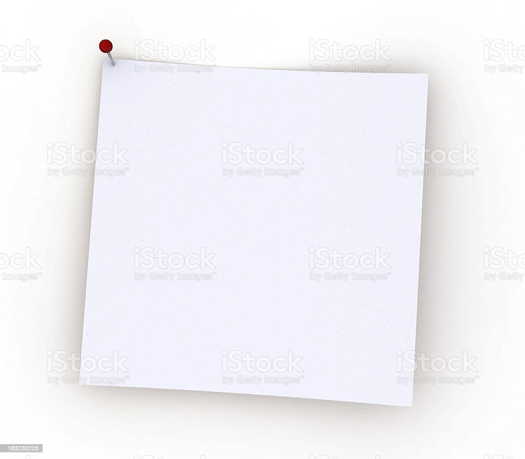 Blank white note paper pinned royalty-free stock photo