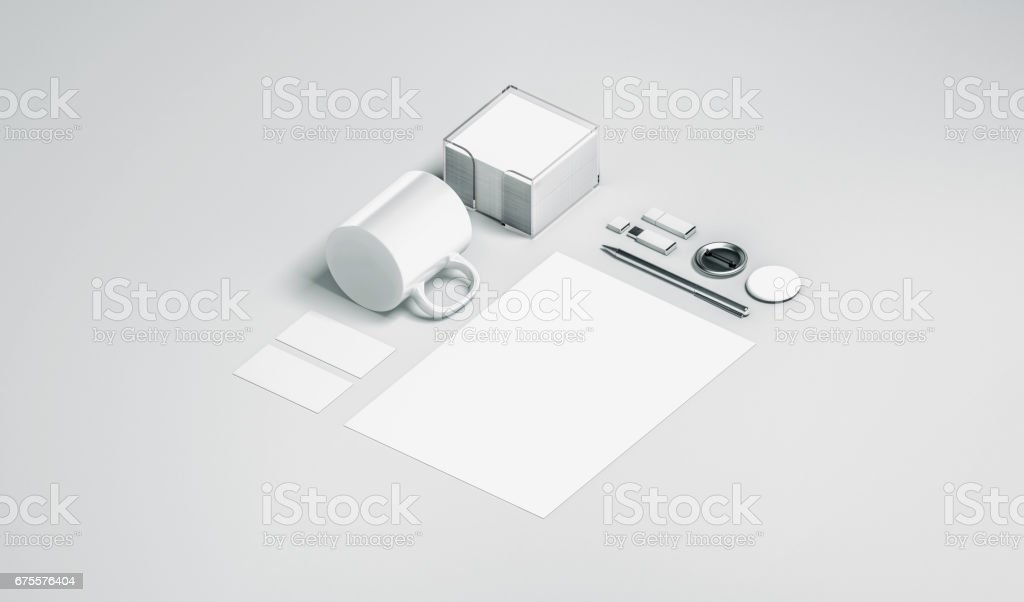 Blank white office stationery set mock up isolated stock photo