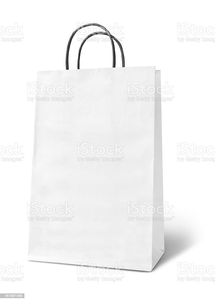 Blank white paper bag stock photo