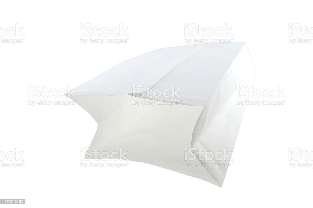 Blank white paper bag royalty-free stock photo