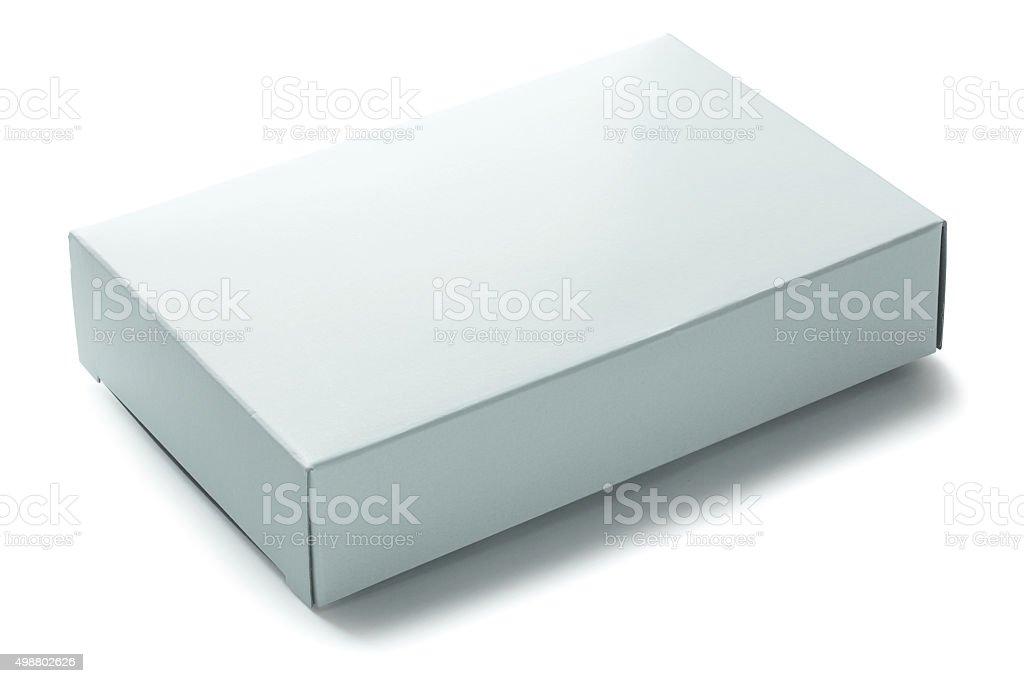 blank white paper box isolated on white background stock photo