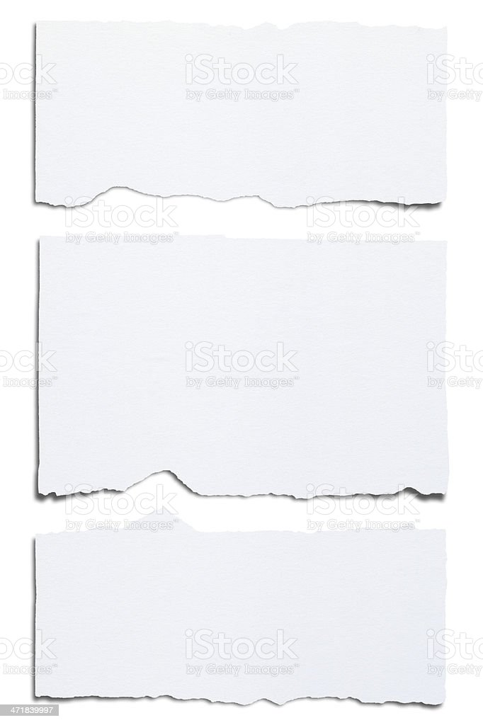 Blank white paper ripped horizontally into three pieces stock photo