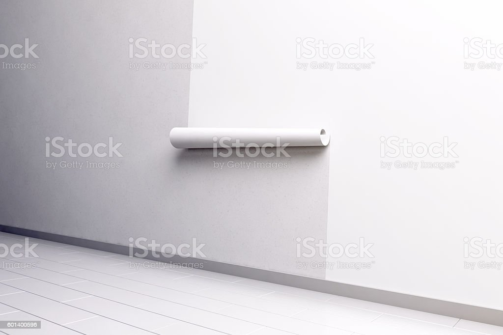 Blank white paper roll hanging on wall mockup, side view stock photo