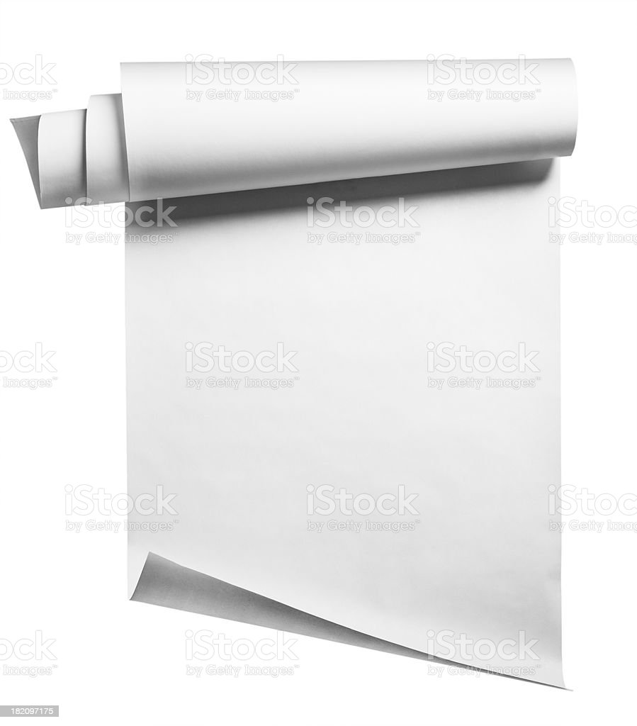 Blank white paper rolled up on a white background stock photo