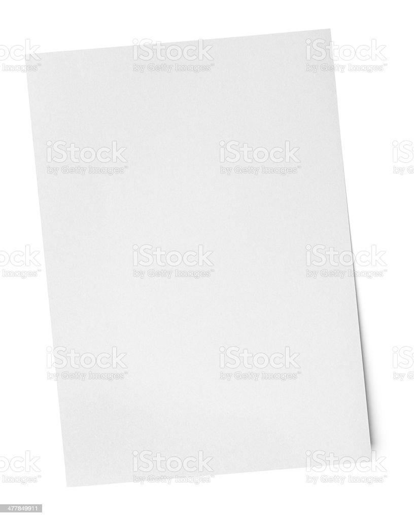 Blank White Paper Sheet stock photo