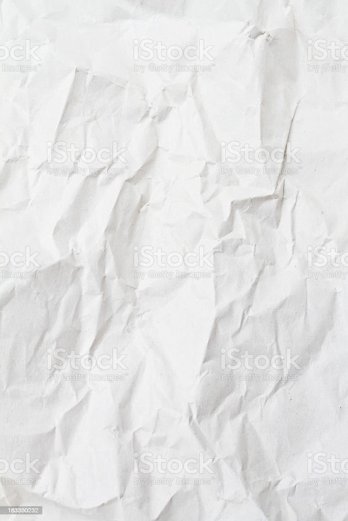 Blank white paper that has been crumpled  royalty-free stock photo