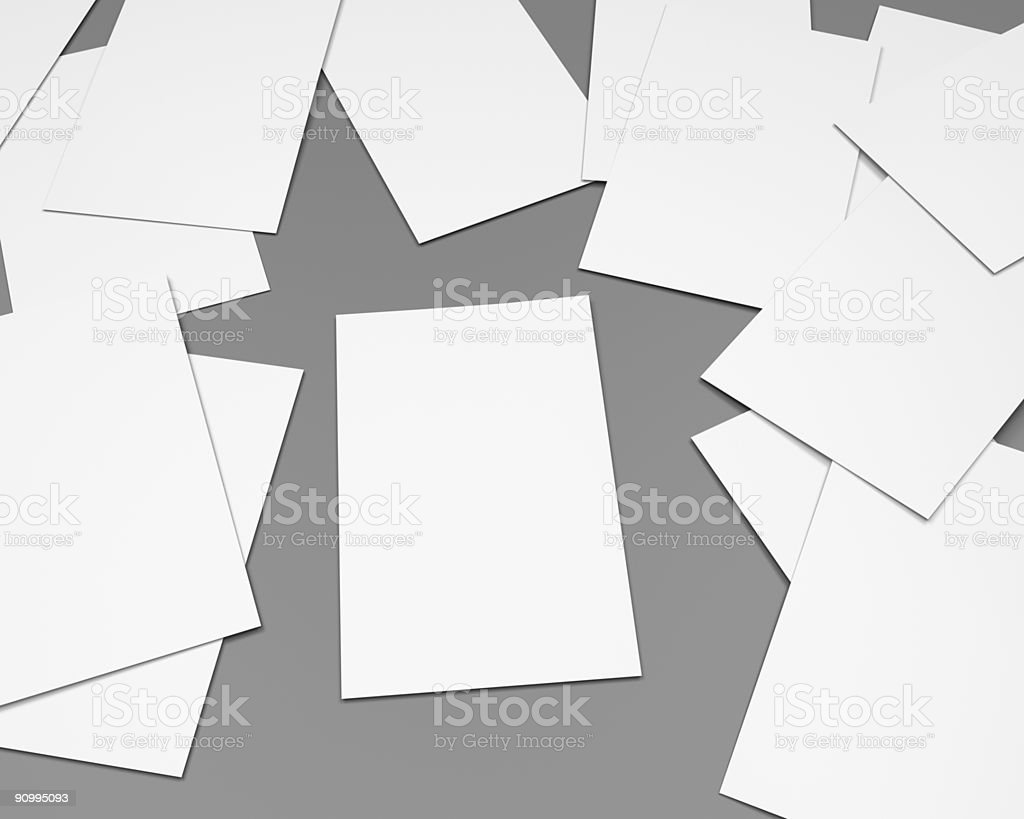 blank white papersheets on clean gray, generic office scene, CGI royalty-free stock photo