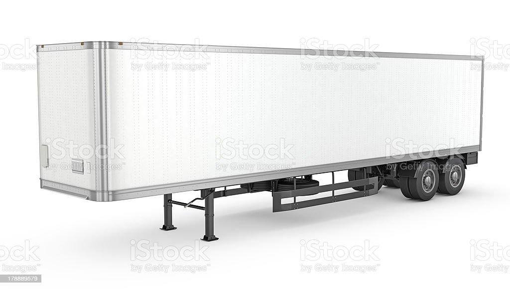 Blank white parked semi trailer stock photo