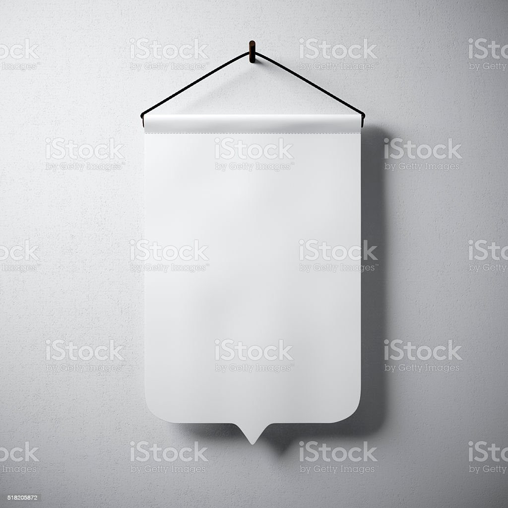 Blank white pennant hanging concrete wall. Ready for your business stock photo