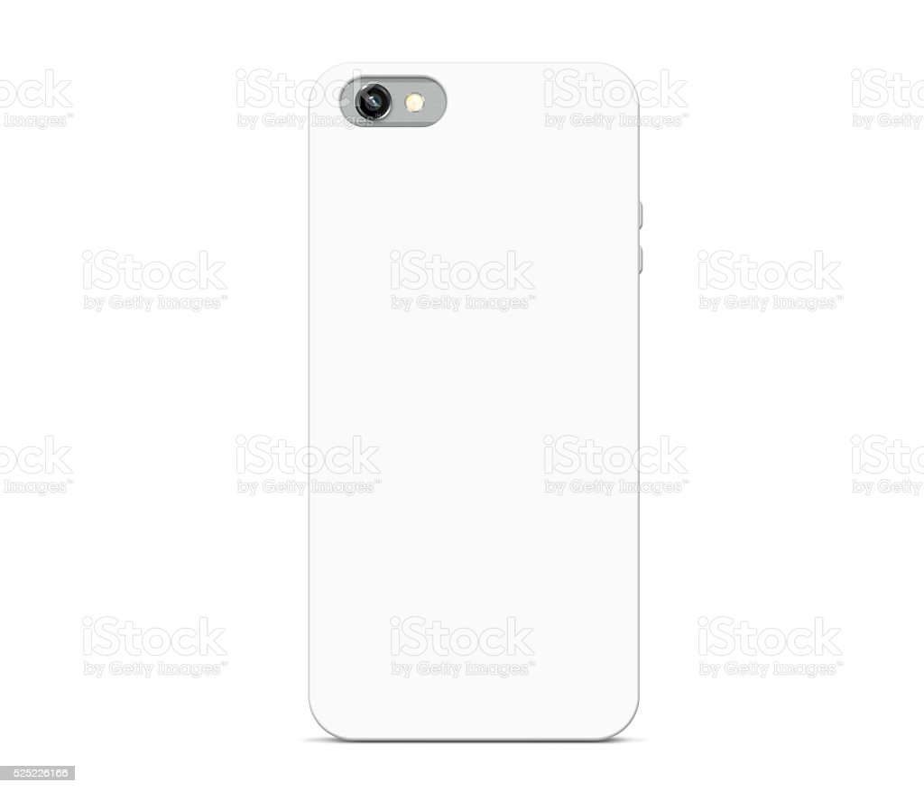 Blank white phone case mock up stand isolated stock photo