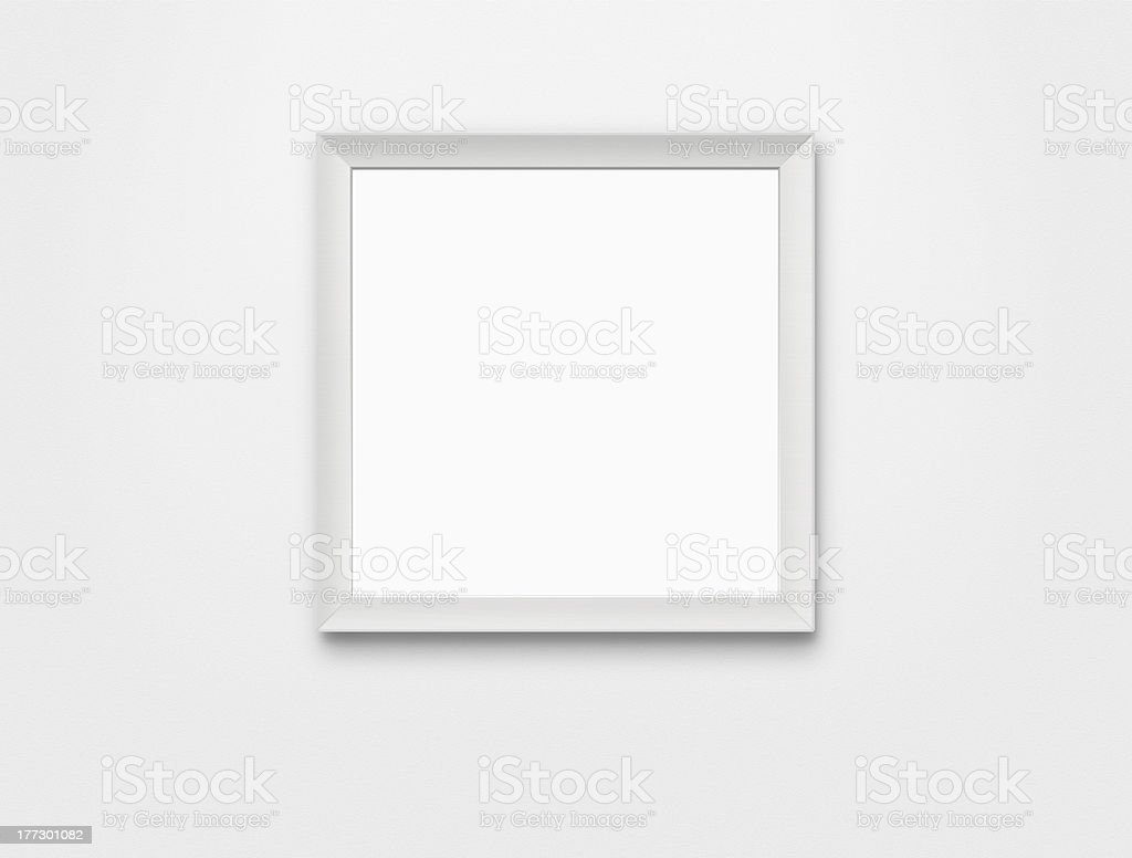 Blank white picture frame with clipping path royalty-free stock photo