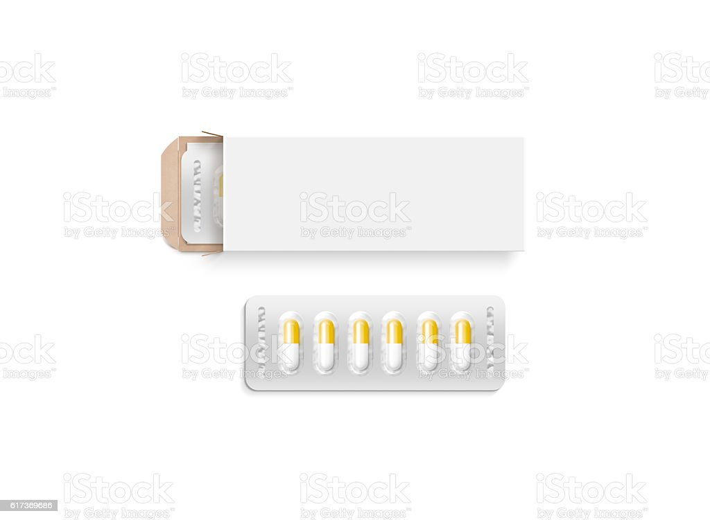 Blank white pill box design mockup, clipping path stock photo