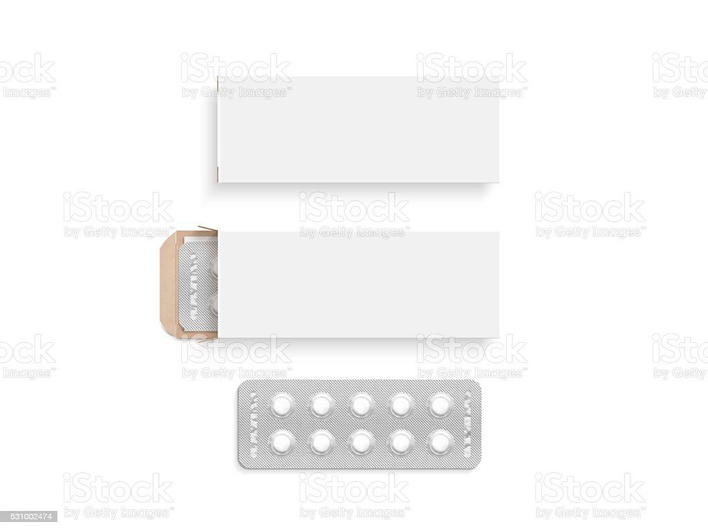 Blank white pill box design mockup set, isolated, 3d illustration stock photo
