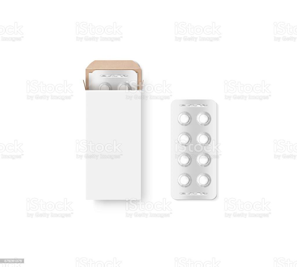 Blank white pill box design mockup set, isolated, 3d illustration. stock photo