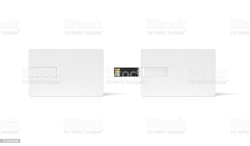 Blank white plastic wafer usb card mockup, opened and closed, stock photo